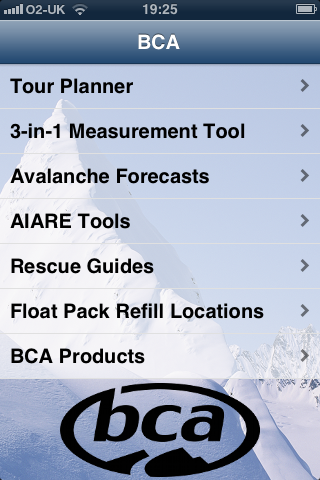 BCA avalanche app home page