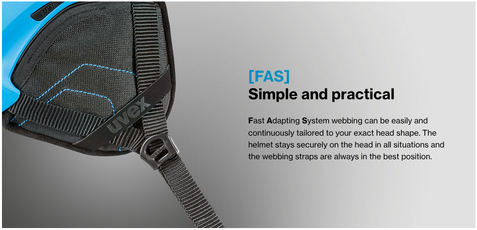 uvex helmets fast adjustment strap system illustration