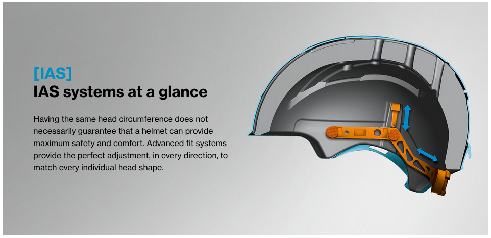 uvex helmet ias adjustment system illustration