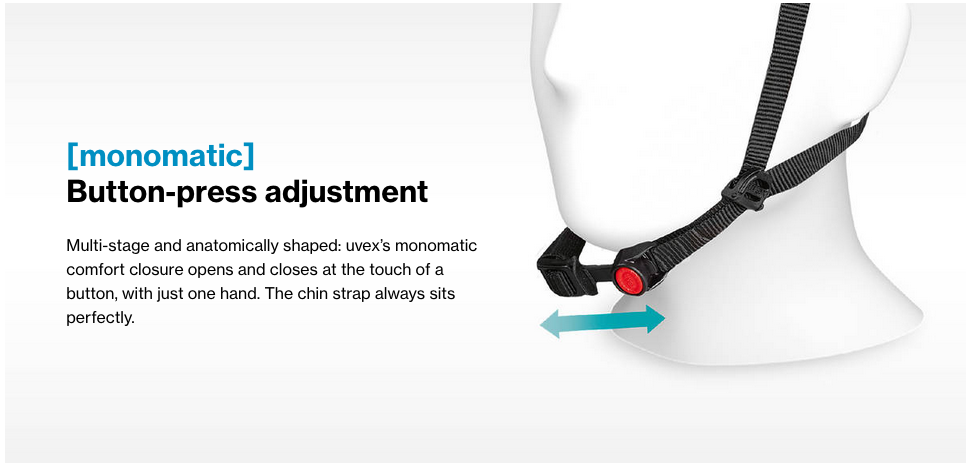 uvex helmets monomatic chin strap adjustment system illustration