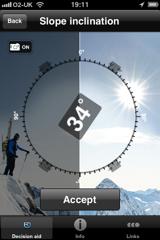 Ortovox app inclinometer